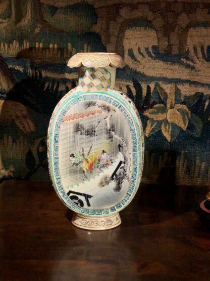 Satsuma Kyoto vase with scenic panels, pierced sides, c.1880-33560