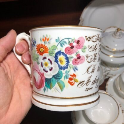 Porcelain presentation mug - John Wooley 'How I love a Drop of Drink' c.1850 -33128