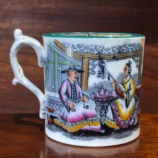 Staffordshire mug, Chinoiserie print, c.1840 -0