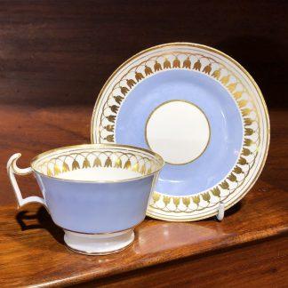 Spode cup & saucer, soft blue with gilt tassels pat. 2197, c.1820 -0