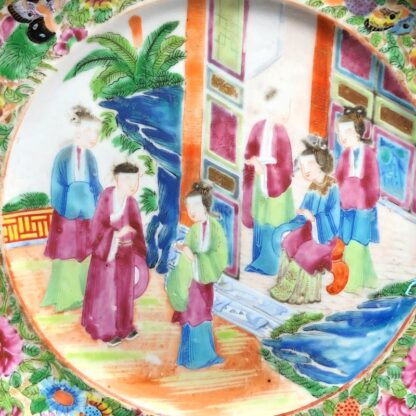 Chinese Cantonese 'Rose Medallion' dish, Opera scene, c.1860-33330
