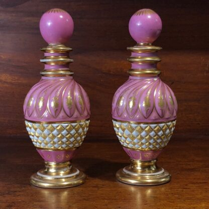 Pair of French perfume decanters, pink & gilt, c. 1845-0