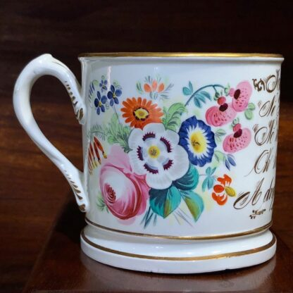 Porcelain presentation mug - John Wooley 'How I love a Drop of Drink' c.1850 -33123