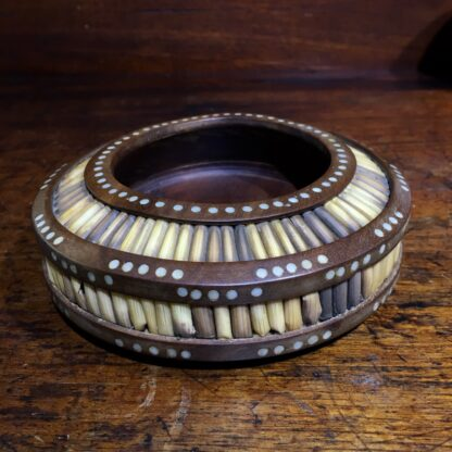 Sinhalese (Sri Lanka) porcupine quill round bowl, hardwood & bone, c. 1900. -0