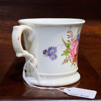 English bone china mug, printed & painted with flowers, c. 1840 -33010