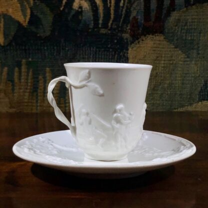 Naples/Doccia porcelain cup & saucer, classical moulding, early 19th century-0