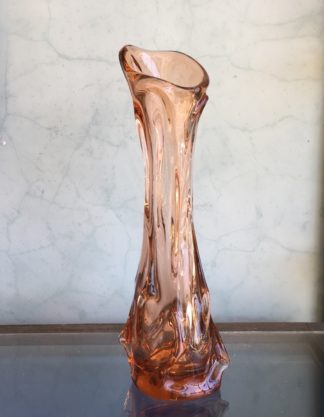 Tall peach coloured Art Glass vase, mid 20th Century -0