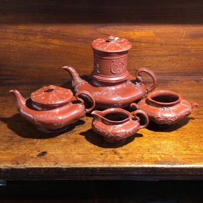 German Rococo red pottery tea service, Schiller & Gerbing, Bodenbach, c. 1840-0