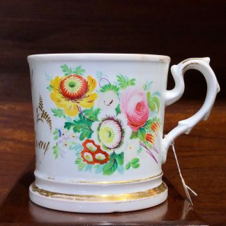 English bone china mug, 'Think of Me', painted with flowers, c. 1850 -0
