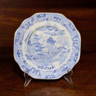 Davenport plate, soft blue pagoda pattern, circa 1830-0