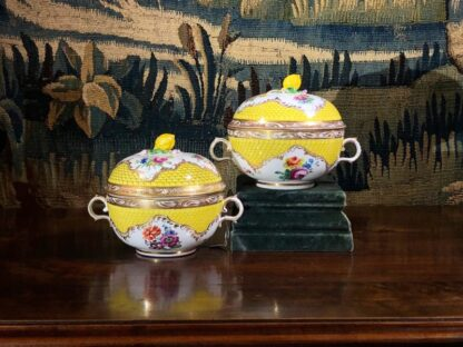 Pair of Vienna ecuelle - covered broth bowls, c. 1800-0