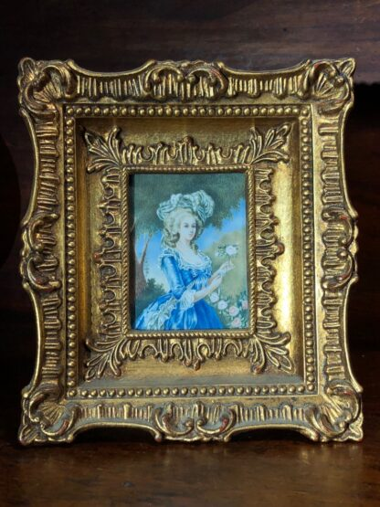 Portrait miniature on Ivory, Lady in blue, 20th century -33726