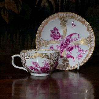 Berlin cup & saucer, puce flowers, c.1890 -0