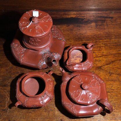 German Rococo red pottery tea service, Schiller & Gerbing, Bodenbach, c. 1840-33362