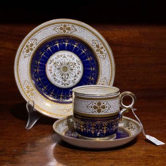 English porcelain cup saucer & plate, raised gold, c. 1875 -0