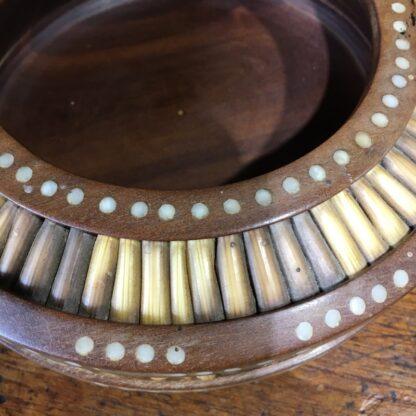 Sinhalese (Sri Lanka) porcupine quill round bowl, hardwood & bone, c. 1900. -33144