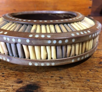 Sinhalese (Sri Lanka) porcupine quill round bowl, hardwood & bone, c. 1900. -33146