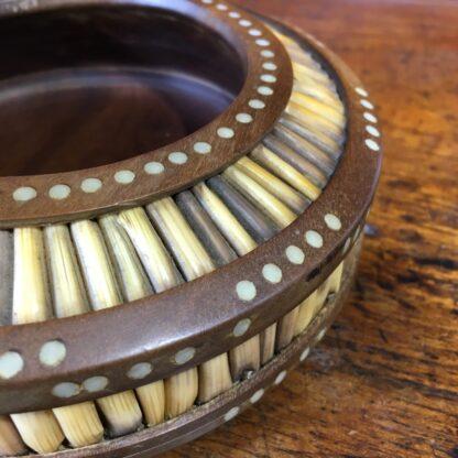 Sinhalese (Sri Lanka) porcupine quill round bowl, hardwood & bone, c. 1900. -33145