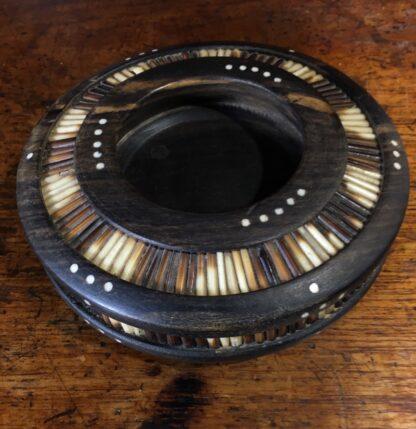 Sinhalese (Sri Lanka) porcupine round bowl, ebony & bone, c. 1900. -33212