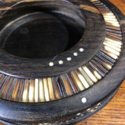 Sinhalese (Sri Lanka) porcupine round bowl, ebony & bone, c. 1900. -33213