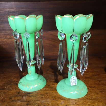 Pair of Victorian green lustres, c.1870.-33167
