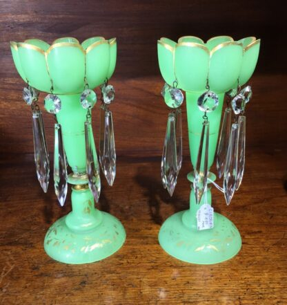 Pair of Victorian green lustres, c.1870.-0