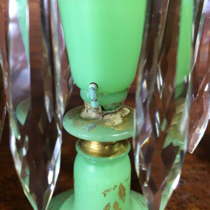 Pair of Victorian green lustres, c.1870.-33171