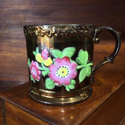 Victorian copper lustre mug, moulded flowers, c. 1830 -0