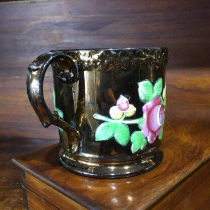 Victorian copper lustre mug, moulded flowers, c. 1830 -33224