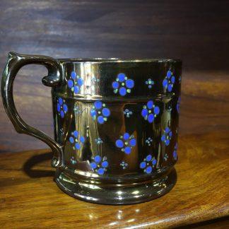 Victorian lustre mug, blue flowerhead sprigs, c. 1840 -0