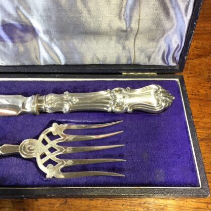 Pair of fish servers, finely pierced & engraved blades inc. dolphin, c. 1890-33244