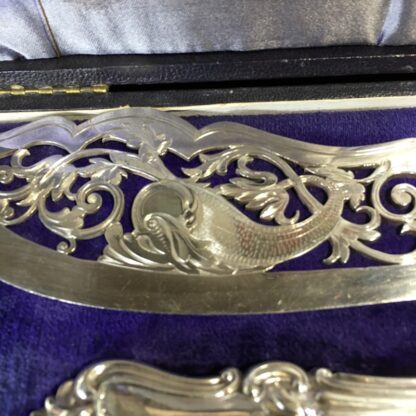 Pair of fish servers, finely pierced & engraved blades inc. dolphin, c. 1890-33242