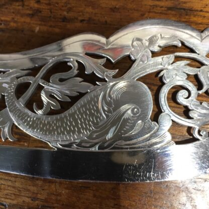 Pair of fish servers, finely pierced & engraved blades inc. dolphin, c. 1890-33247