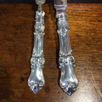 Pair of fish servers, finely pierced & engraved blades inc. dolphin, c. 1890-33249