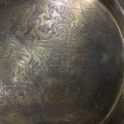 English brass 'Willow Pattern' tray, circa 1900 -33252