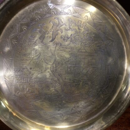 English brass 'Willow Pattern' tray, circa 1900 -33253