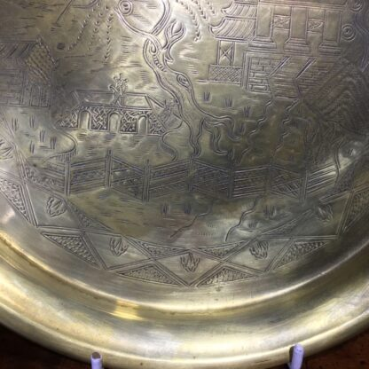 English brass 'Willow Pattern' tray, circa 1900 -33254