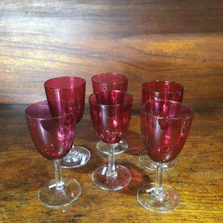 Set of six Victorian ruby wine glasses, c. 1890-0