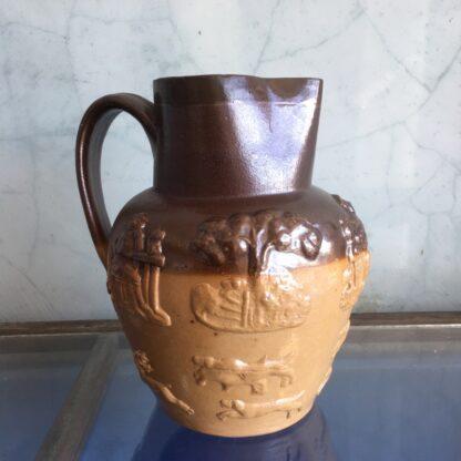 English Saltglaze pottery jug, moulded hunting scenes, c. 1830-33413