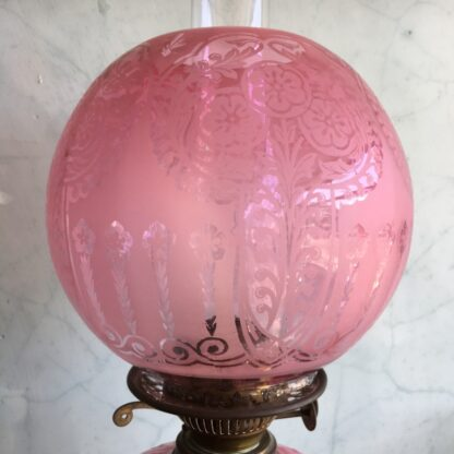 Large Victorian banquet lamp, ruby etched shade, c. 1880 -33408