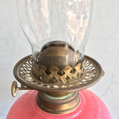 Large Victorian banquet lamp, ruby etched shade, c. 1880 -33407
