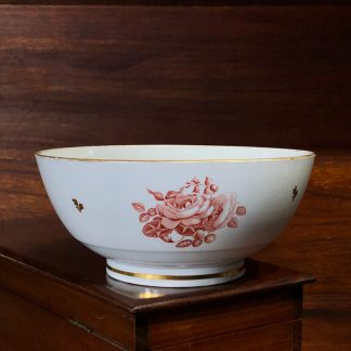 Barr Worcester bowl, red flower bat-prints, c.1800 -0