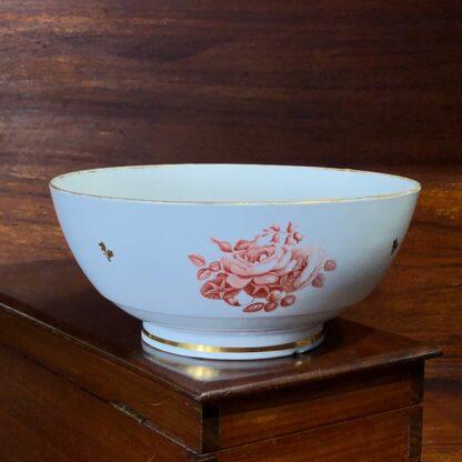 Barr Worcester bowl, red flower bat-prints, c.1800 -33192