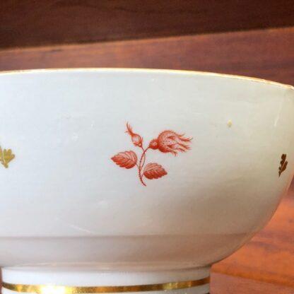 Barr Worcester bowl, red flower bat-prints, c.1800 -33193