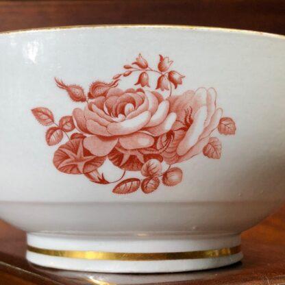 Barr Worcester bowl, red flower bat-prints, c.1800 -33197