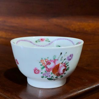 Chinese Export teabowl, European flowers, c. 1760 -0