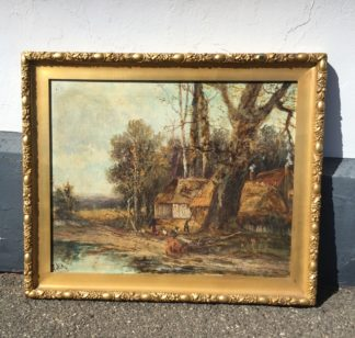 J. May -oil on canvas, impressionistic style landscape, late 19th century-0