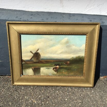 Softly painted Oil on canvas, countryside with windmill & cows, c. 1890. -0