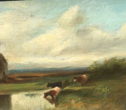 Softly painted Oil on canvas, countryside with windmill & cows, c. 1890. -33803