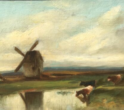 Softly painted Oil on canvas, countryside with windmill & cows, c. 1890. -33804